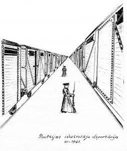 """Daumanta Birznieka zīmējums """"Baltijas iedzīvotāju deportācija"""""""