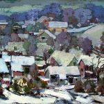 """Jēkabs Sprinģis """"Saules iela ziemā"""" 1977. Audekls, eļļa 80x100. Talsu novada muzeja īpašums."""