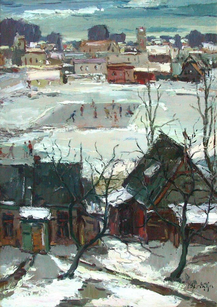 """Jēkabs Sprinģis """"Ziema"""" 1969. Kartons, eļļa 100x70. Talsu novada muzeja īpašums."""