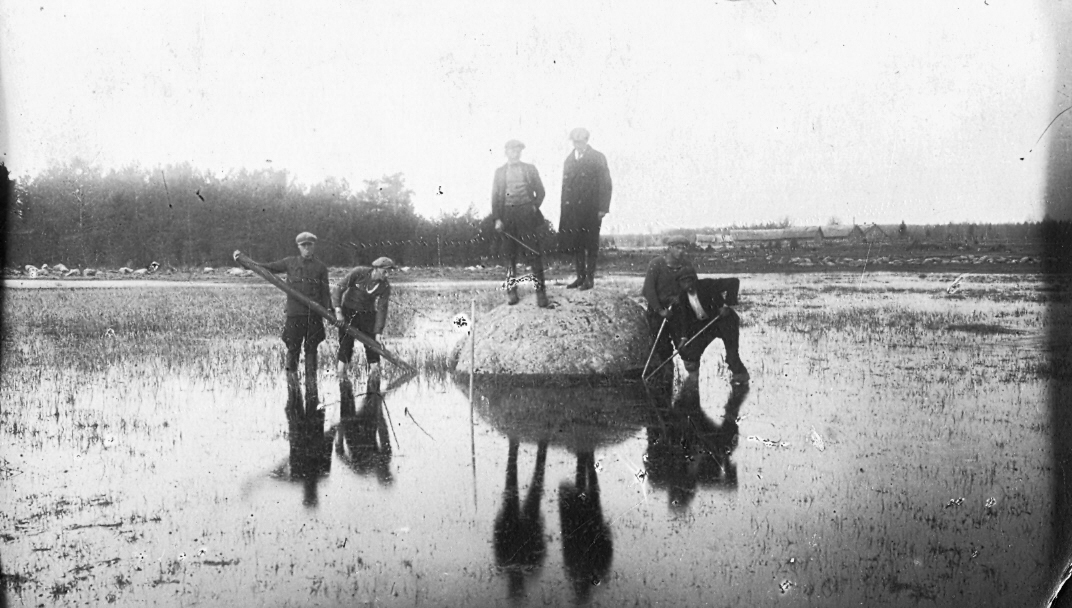 Mērsraga ostas celtniecība. Vietējie zvejnieki izceļ akmeņus no jūras līča, 1930. gadi.