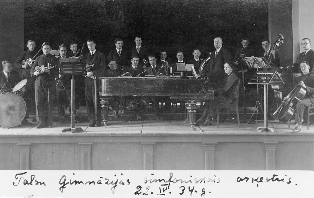 Talsu ģimnāzijas simfoniskais orķestris, 1934. gads