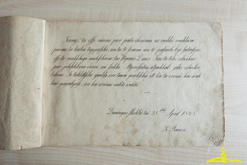 Krišjāņa Barona rokraksts 1848. gadā