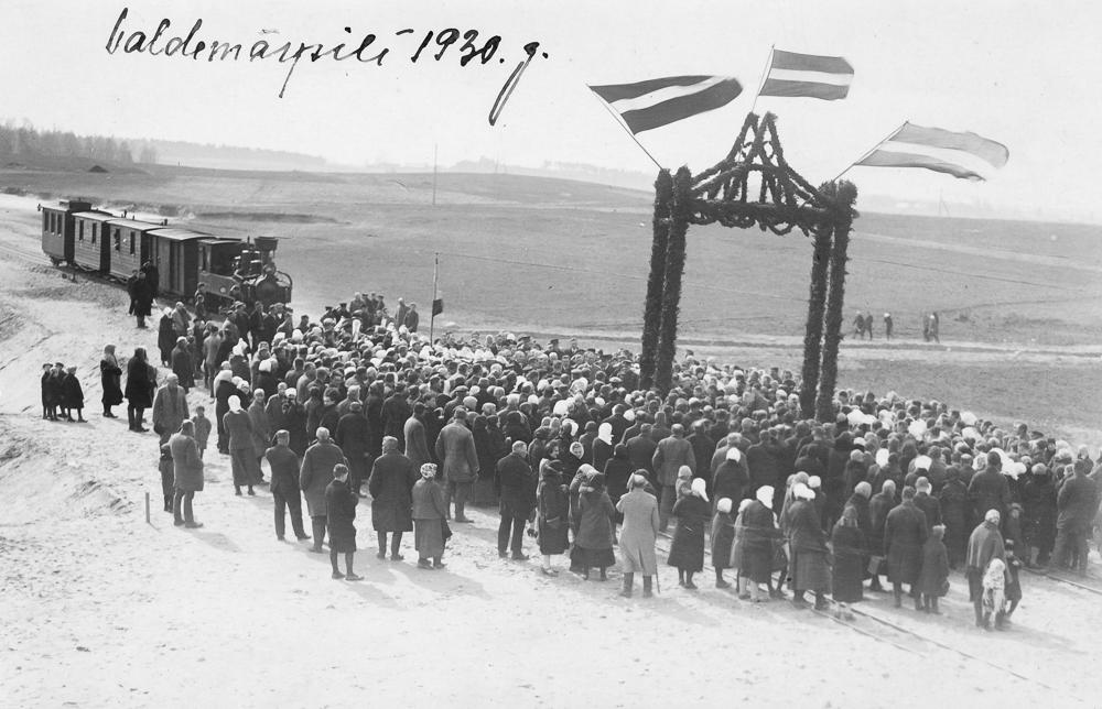 Dzelzceļa atklāšana Valdemārpilī 1930. gadā