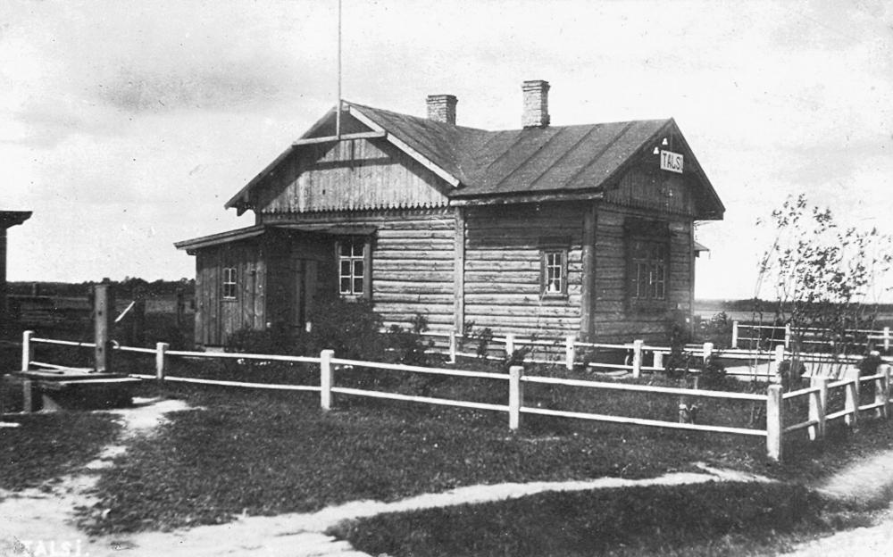 Pirmā Talsu dzelzceļa stacijas ēka, celta 1920. gadā
