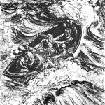Marija Induse-Muceniece ( 1904– 1974 )  Bēgļu laiva (Bēgšana laivā no krievu okupācijas). 1948 papīrs/linogriezums, 90x73,8 cm, 55/60, Talsu novada muzeja krājums