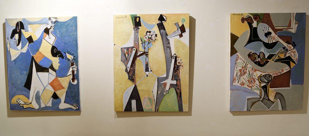 """Izstādes """"Osvalds Rožkalns - trimdinieks dzīvē un mākslā"""" atklāšana Talsu novada muzeja Izstāžu zālē 2020. gada 19. februārī."""