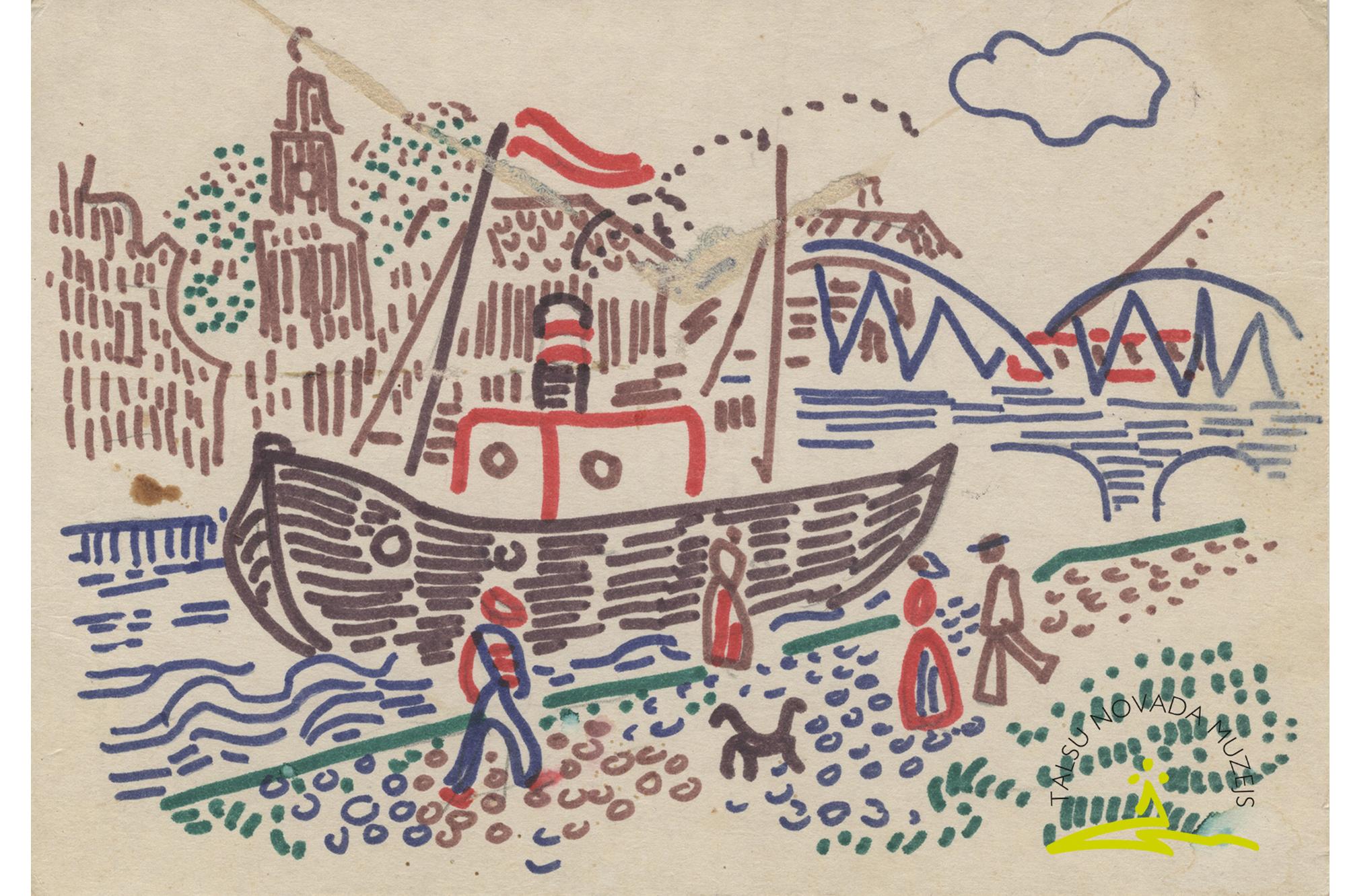 Skaidrītes Elksnītes flomastera zīmējums, 1978.