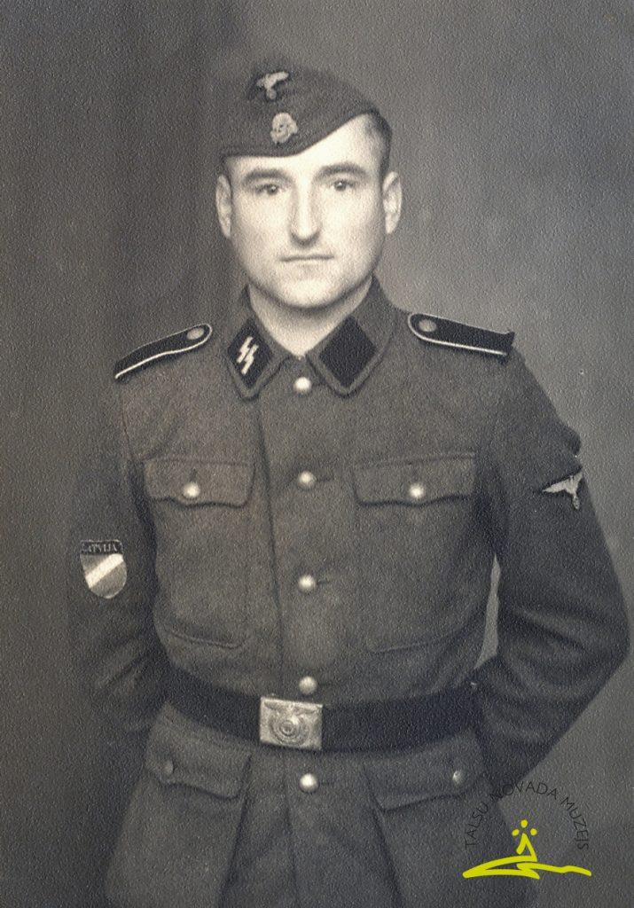 Leģionārs Arvīds Praznicāns Ādama d. (1912–1944). Kritis 1944. gada 31. decembrī, apglabāts Talsos Jaunajos kapos