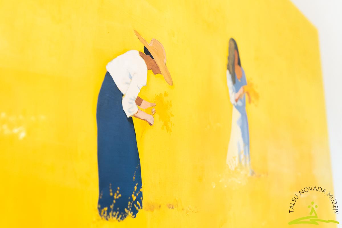 """Tikšanās ar mākslinieci Dagni Ventiņu viņas gleznu izstādē """"Pļavā"""" 2020. gada 5. septembrī."""
