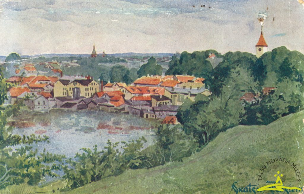 """Pastkarte. E. Volfeila akvareļa """"Skats uz Talsiem"""" reprodukcija, 1936. g."""