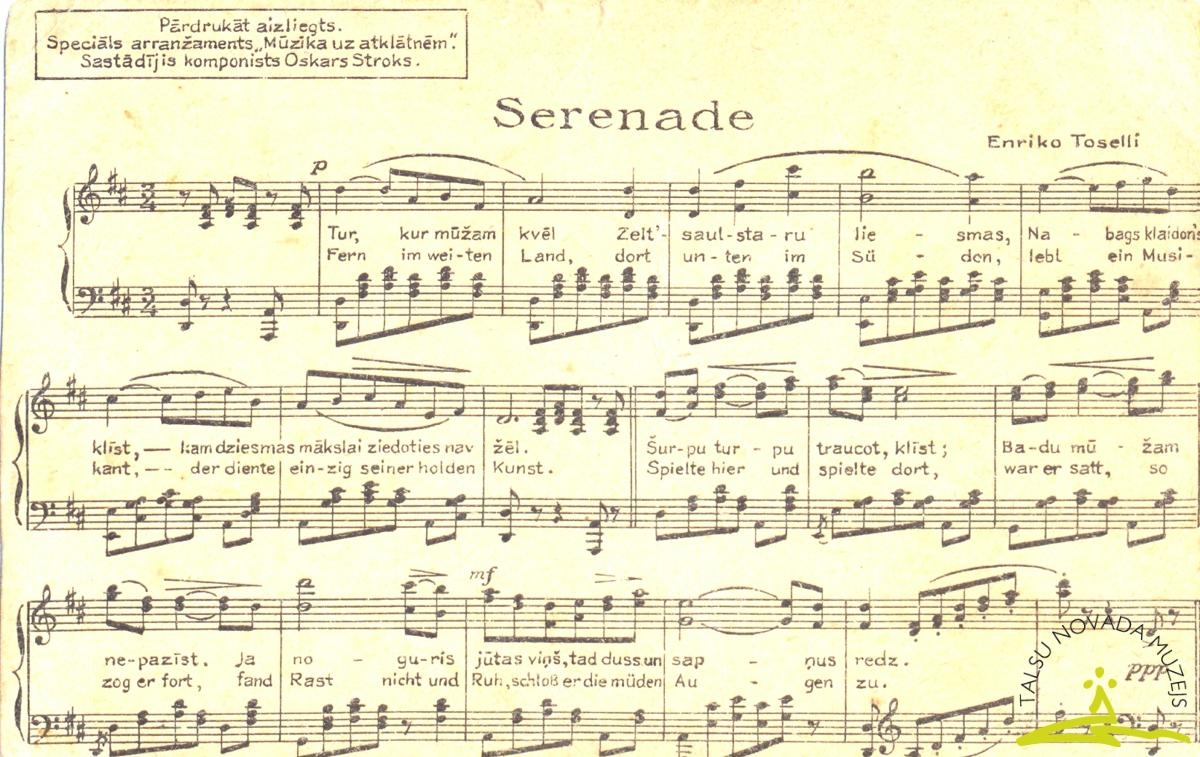 """Pastkarte. Ar E. Toselli """"Serenades"""" notīm un vārdiem. 1930. gados."""