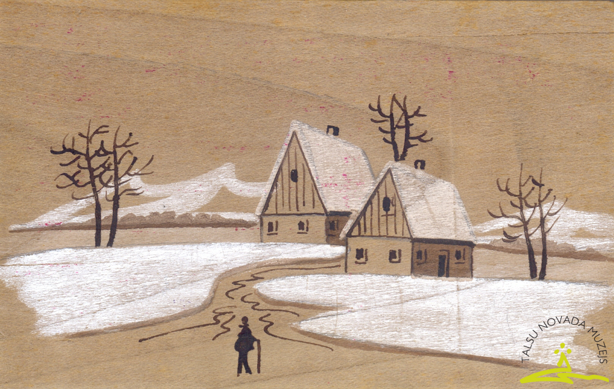 Pastkarte. Uz finiera plāksnes attēlota ziemas ainava, 1914. g.