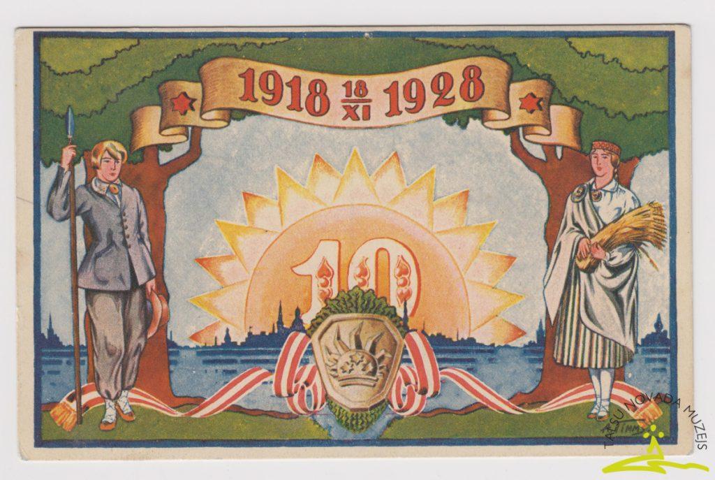 Pastkarte. Veltīta Latvijas Republikas 10 gadiem. Autors A. Tims. 1928. g.