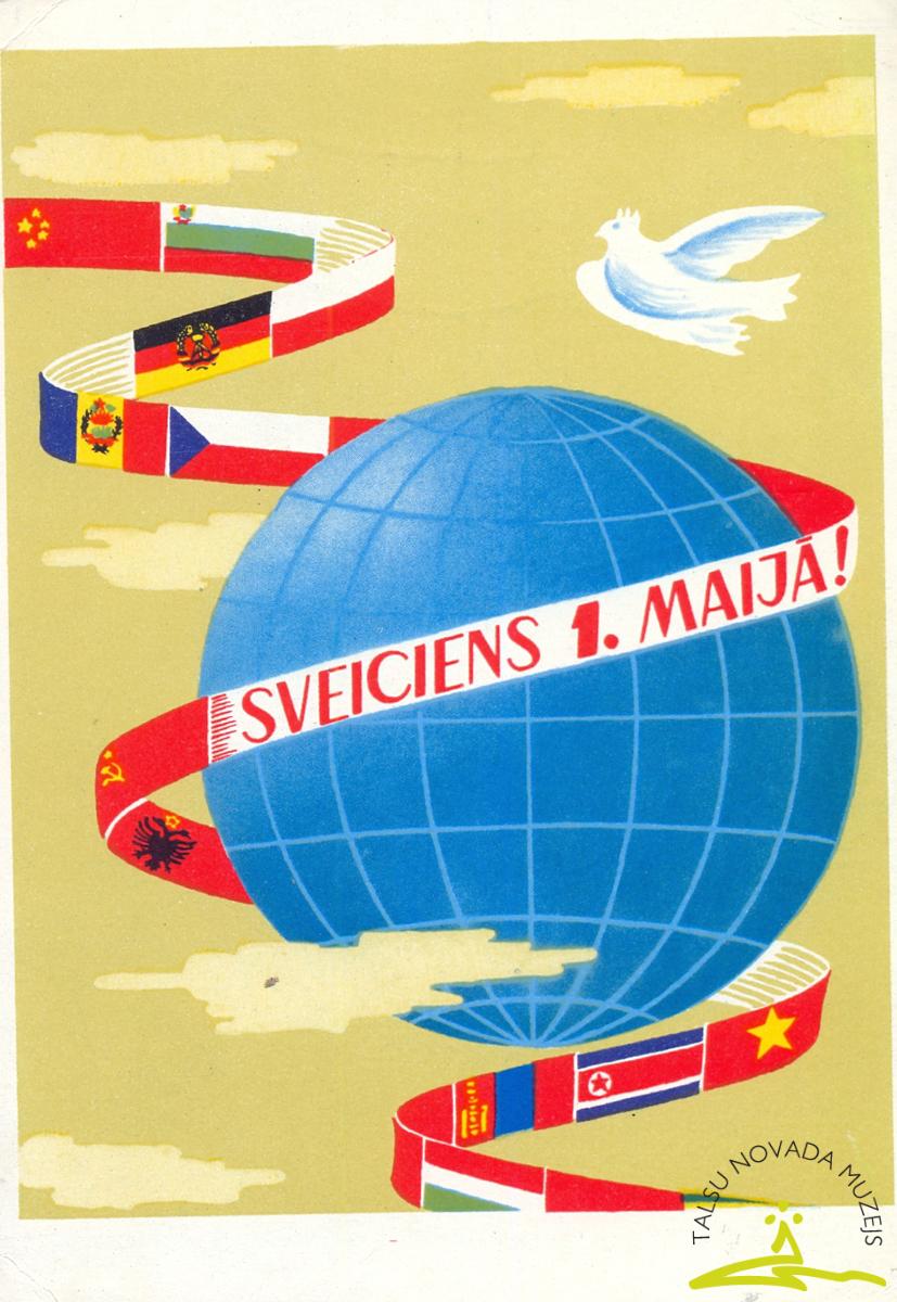 Pastkarte. Apsveikums starptautiskajā darbaļaužu solidaritātes dienā 1. maijā, 20. gs. 60. - 70. g.