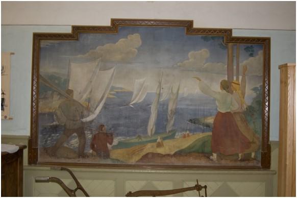 """Piemiņas zālē atrodas mākslinieka Kārļa Freimaņa sienas panno """"Latvji, brauciet jūriņā..."""""""