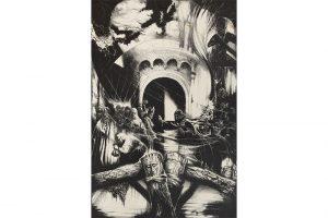 """Viesturs Grants """"Stāv Rīga torņaina…"""" I, 1983, 60x40  cm, TNMM 19450/1"""