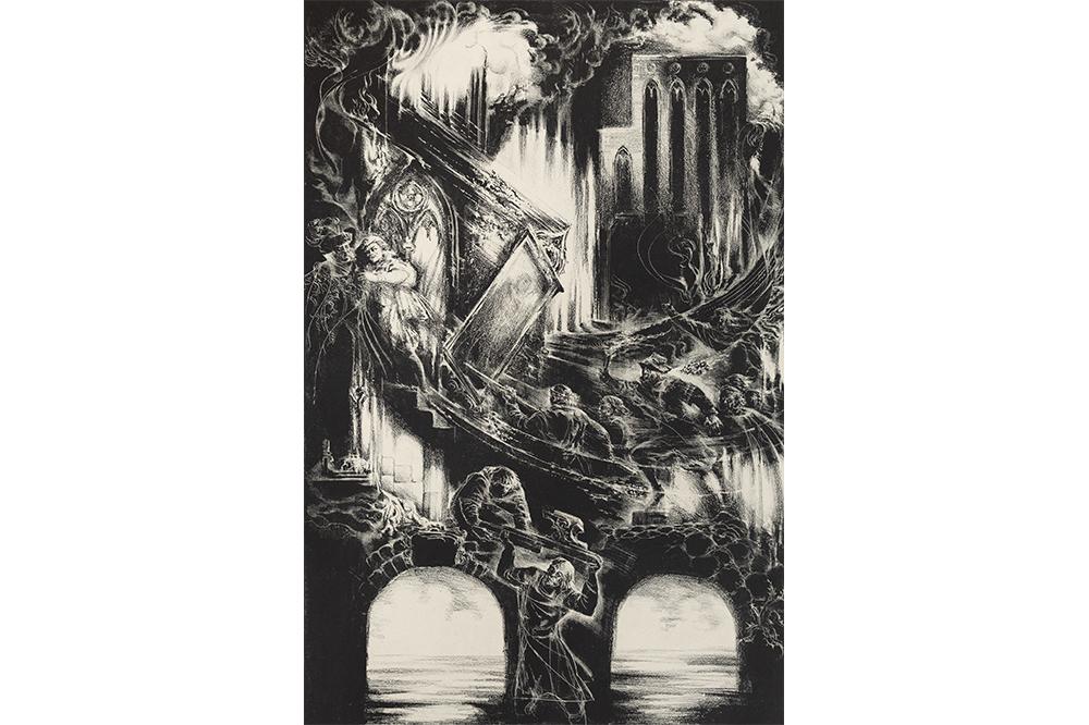 """Viesturs Grants """"Stāv Rīga torņaina…"""" II, 1983, 60x40  cm, TNMM 19450/2"""