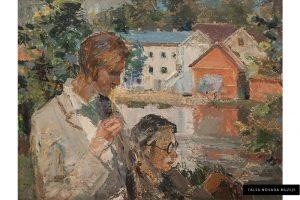 """Žanis Sūniņš """"Mākslinieki plenērā"""", 1940. gadu sākums"""