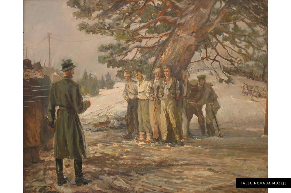 """Žanis Sūniņš """"Talsu tiesa 1905. gadā pie Soda priedes"""""""