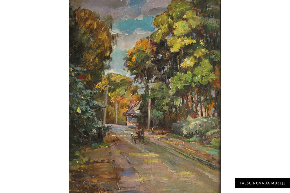 """Žanis Sūniņš """"Padomju ( Mīlenbaha ) iela Talsos rudenī """", 1959"""