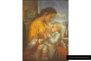 """Nezināms autors """"Māte ar bērnu"""". Eļļa. TNMM 2630"""