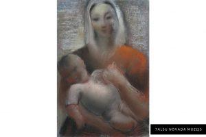 """Marija Klēbaha – Stīpniece """"Māte ar bērnu"""". Pastelis. TNMM 408"""